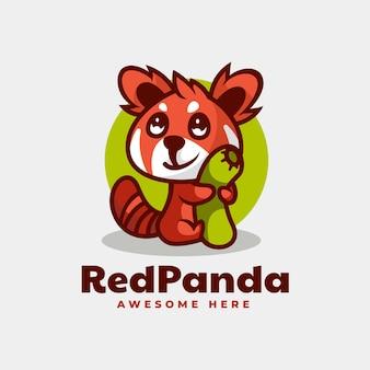 Illustrazione logo vettoriale mascotte panda rosso stile cartone animato