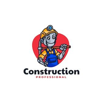 Illustrazione di logo di vettore robot costruzione mascotte stile cartone animato