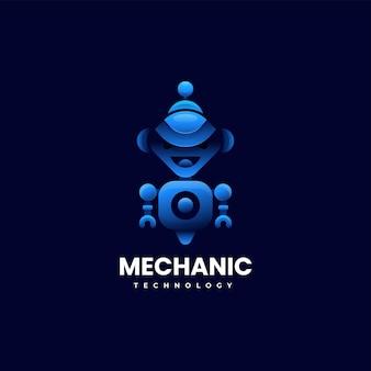 Illustrazione logo vettoriale robot meccanico gradiente stile colorato