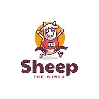 Illustrazione di logo di vettore mascotte delle pecore in stile cartone animato