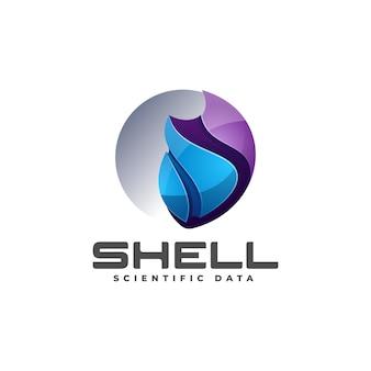Vector logo illustrazione shell gradiente stile colorato