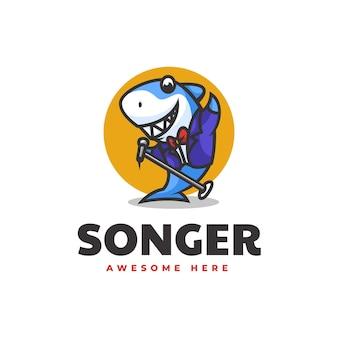 Vector logo illustrazione cantante squalo mascotte stile cartone animato