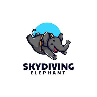 Vector logo illustrazione paracadutismo elefante mascotte stile cartone animato