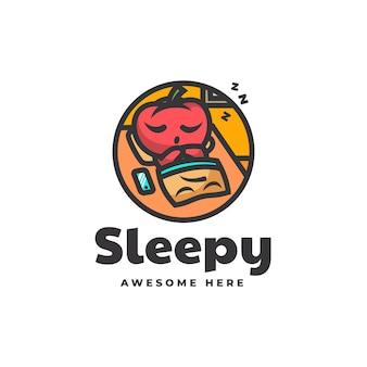 Illustrazione logo vettoriale mascotte pomodoro assonnato stile cartone animato