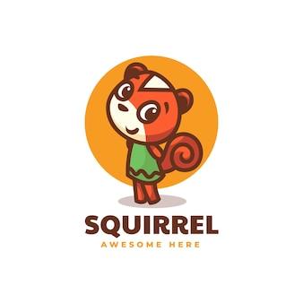 Illustrazione di logo di vettore mascotte di scoiattolo in stile cartone animato