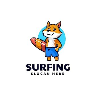 Illustrazione di logo vettoriale mascotte volpe surf stile cartone animato