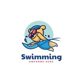Illustrazione di logo di vettore mascotte dell'orso di nuoto in stile cartone animato