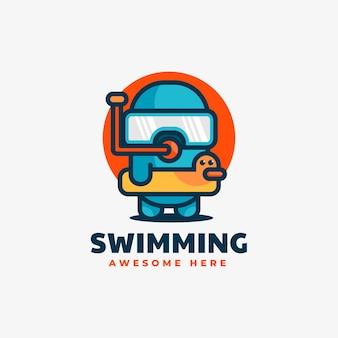 Illustrazione di logo di vettore che nuota in stile semplice mascotte