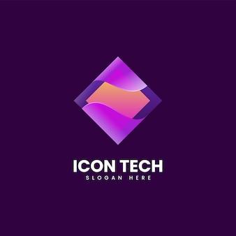 Vector logo illustrazione tech icona gradiente stile colorato