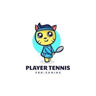 Illustrazione di logo di vettore mascotte del gatto del tennis in stile cartone animato