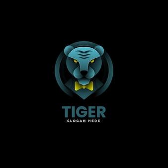 Illustrazione di logo di vettore stile variopinto di gradiente della tigre