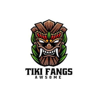 Illustrazione di logo di vettore stile semplice della mascotte di tiki