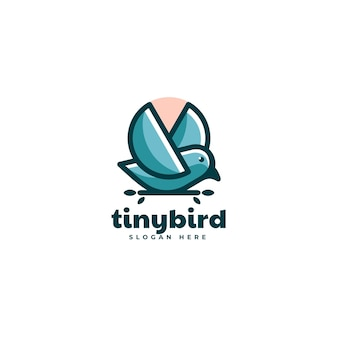 Illustrazione logo vettoriale piccolo stile mascotte semplice uccellino