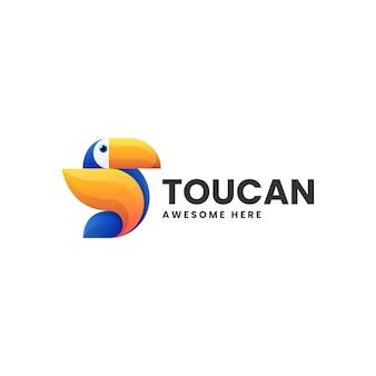 Illustrazione di logo di vettore stile variopinto di gradiente del tucano