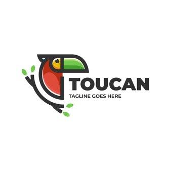 Illustrazione di logo di vettore stile semplice della mascotte del tucano