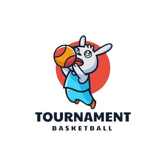Vector logo illustration torneo mascotte coniglio stile cartone animato.