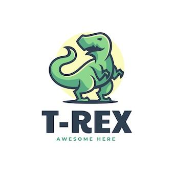 Illustrazione di logo di vettore stile semplice della mascotte di trex