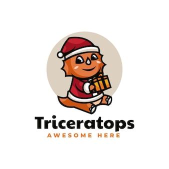 Illustrazione di logo di vettore triceratopo mascotte di natale in stile cartone animato