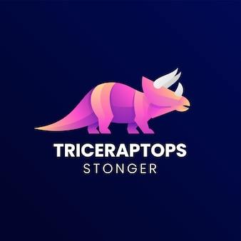 Illustrazione di logo di vettore triceratops stile variopinto di gradiente