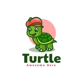 Illustrazione di logo vettoriale mascotte tartaruga stile cartone animato