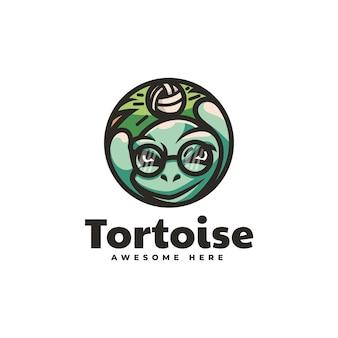 Illustrazione logo vettoriale volley tartaruga stile semplice mascotte