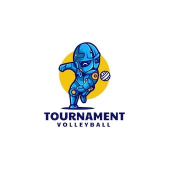 Illustrazione logo vettoriale torneo pallavolo stile semplice mascotte