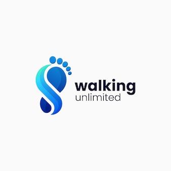 Illustrazione di logo di vettore stile variopinto di pendenza di camminata