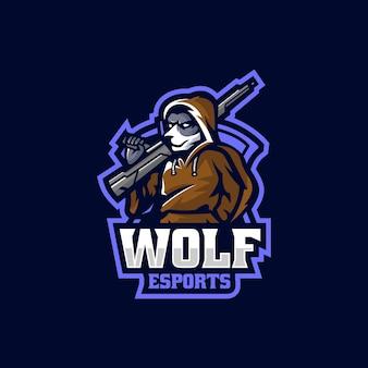 Vector logo illustration wolf e sport e sport style