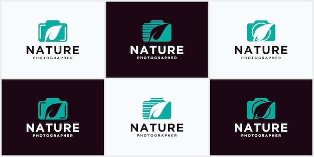 Logo vettoriale per fotografo amante della natura, design del logo della foglia vettoriale della fotocamera, simbolo della fotografia naturalistica