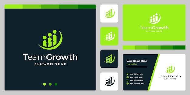 Modello di progettazione di squadra logo vettoriale con logo di investimento analitico di crescita.