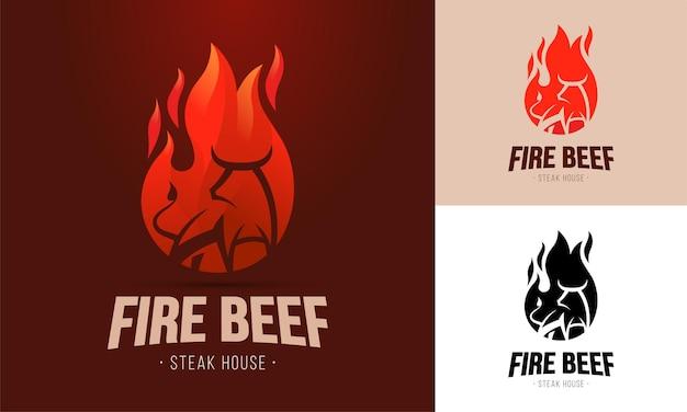Modello di logo vettoriale per ristorante specializzato in carni alla griglia