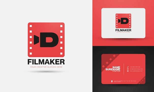 Modello di logo vettoriale per creatore di video più design di biglietti da visita