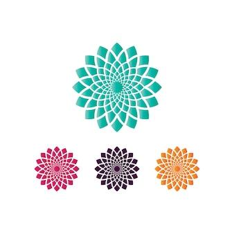 Isotipo del fiore di loto di vettore per benessere, spa e yoga.