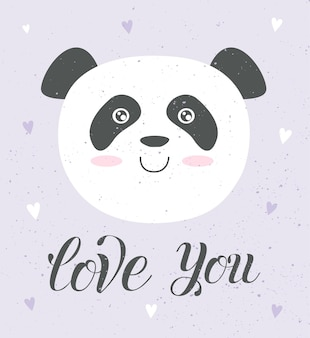 Carta d'amore vettoriale di simpatici animali poster con oggetti adorabili su sfondo taxture
