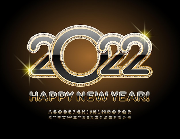 Cartolina d'auguri di lusso vettoriale felice anno nuovo 2022 carattere originale moderno alfabeto lucido nero e oro