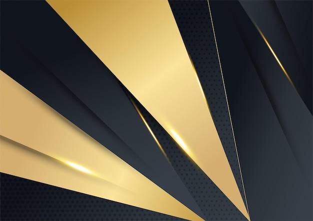 Priorità bassa di tecnologia di lusso di vettore. pila di strato di materiale di carta nera con striscia d'oro. carta da parati premium a forma di freccia