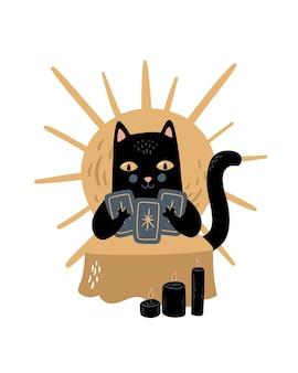 Illustrazione magica vettoriale il gatto nero sta leggendo i tarocchi