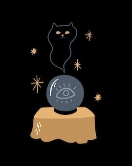 Illustrazione magica vettoriale tavolo con una sfera di cristallo e un fantasma di gatto occultismo della sessione spirituale