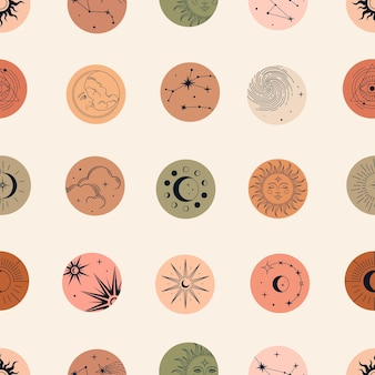 Vector magic seamless pattern con costellazioni, sole, luna, occhi magici, nuvole e stelle.