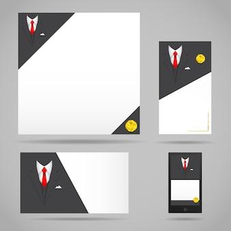 Modello di abito di abbigliamento maschile di vettore per biglietto da visita, documento e lettera