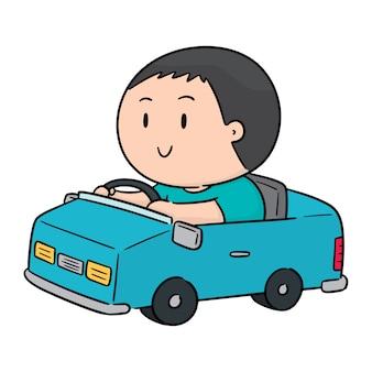 Vettore di uomo guida auto