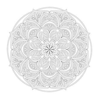 Mandala di vettore per colorare modello rotondo con elementi decorativi