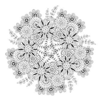 Mandala vettoriale con pattern di fiori. pagina del libro di colorazione degli adulti. disegno floreale per la decorazione.
