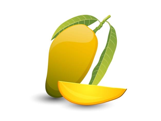 Frutti di mango di vettore isolati su fondo bianco. vettore, illustrazione