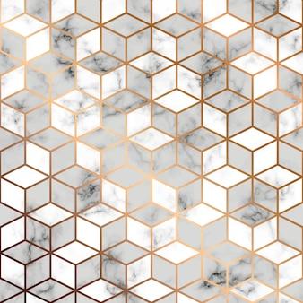 Vector trama di marmo, design pattern senza soluzione di continuità con linee geometriche dorate e cubi