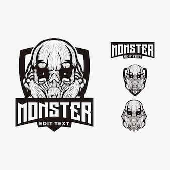 Logo dell'illustrazione della testa del mostro della maschera di vettore