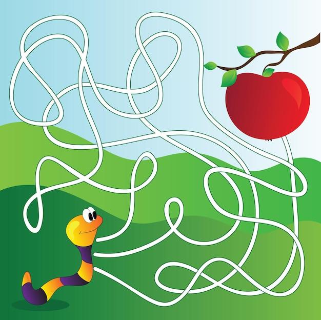 Labirinto vettoriale, gioco educativo labirinto per bambini con mela e verme