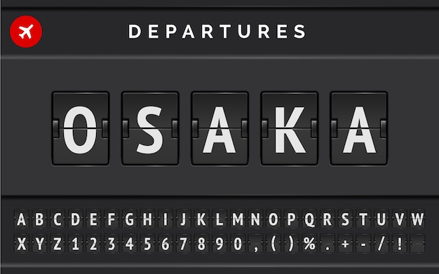 Carattere di bordo di vibrazione aeroporto meccanico di vettore con informazioni di volo di destinazione in giappone osaka con segno di partenza della compagnia aerea