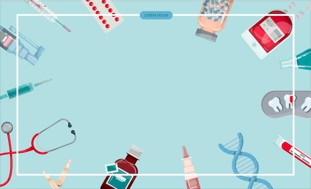 Banner medico vettoriale modello farmacia vaccinazione controllo sanitario online diagnostica medica