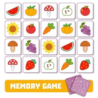 Gioco di memoria vettoriale per bambini, carte con frutta e verdura